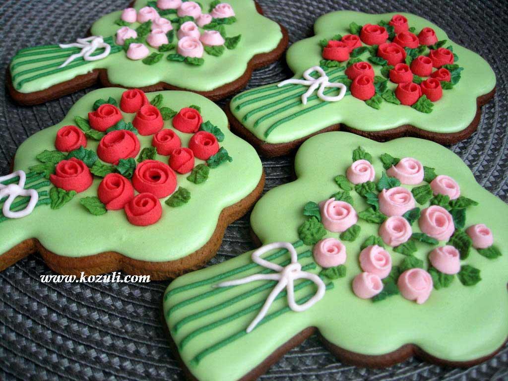 Пряники Букеты с цветами из айсинга. Пряники к 8 марта