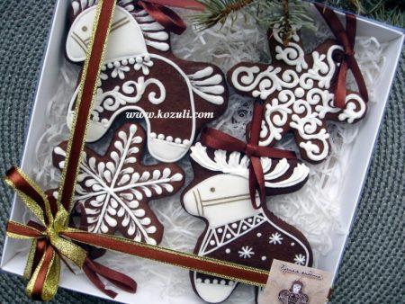Новогодние пряники, новогоднее печенье архангельские козули. Набор Олень-Лошадка-Снежинки. Новогодние имбирные пряники