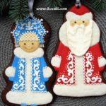 Новогодние пряники Дед Мороз и Снегурочка. Новогодние имбирные пряники, новогоднее печенье