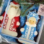 Новогодние пряники Дед Мороз и Снегурочка, упаковка. Новогодние имбирные пряники, новогоднее печенье