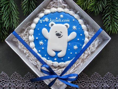 Новогодние пряники, новогоднее печенье Медвежонок, упаковка, белый наполнитель