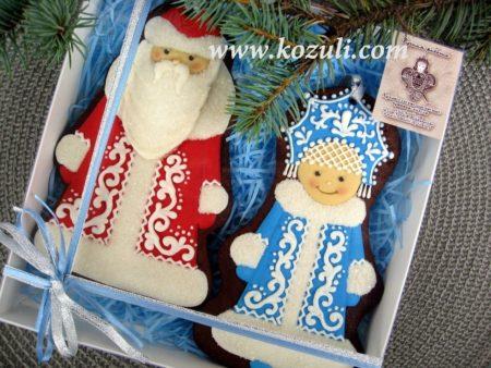 Новогодние пряники Дед Мороз и Снегурочка, упаковка
