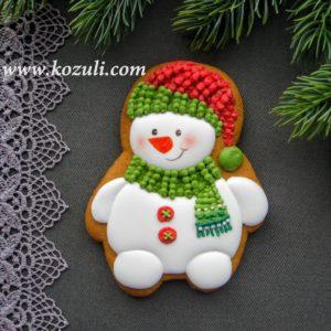 Пряник Снеговик. Новогодние пряники