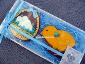 Пасхальные пряники Цыпленок и Пасхальная корзинка с яйцами, набор, упаковка