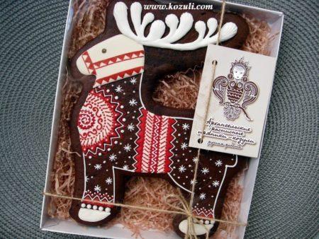 Новогодние и рождественские пряники. Рождественское печенье. Архангельские козули. Пряник Рождественский олень, упаковка