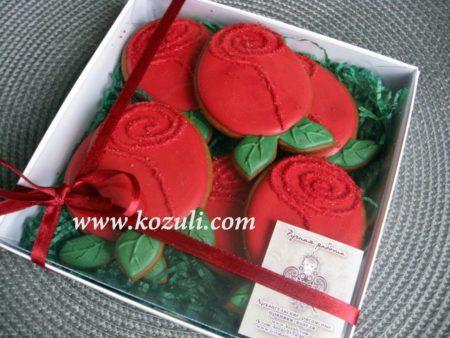 Пряники цветы. Розы, упаковка