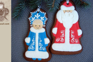 Новогодние пряники Дед Мороз и Снегурочка, видео мк (с шаблоном)