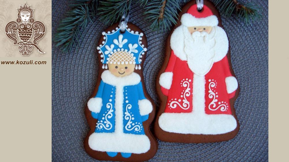 Новогодние пряники Дед Мороз и Снегурочка, видео мастер-класс