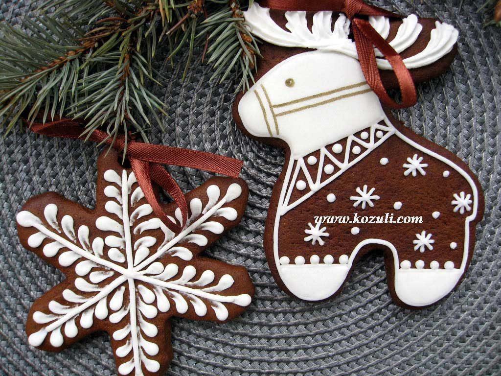 Новогодние пряники козули. Олень и снежинка. Новогодние имбирные пряники, новогоднее печенье
