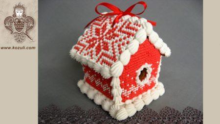 """Пряничные домики. Пряничный мини домик Красный """"вязаный"""", видео МК (с шаблоном)"""