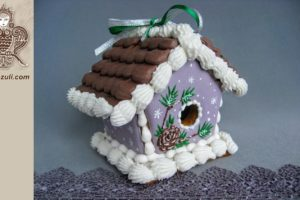 Пряничный мини домик Новогодний с сосновой шишкой, видео МК (с шаблоном)