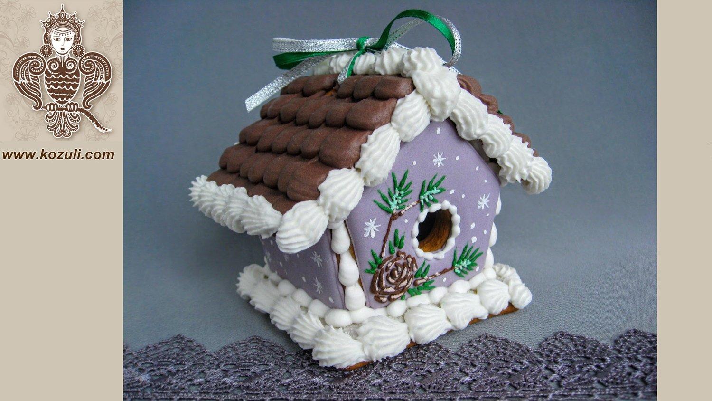 Пряничный мини домик Сосновый (с шаблоном), видео мастер-класс