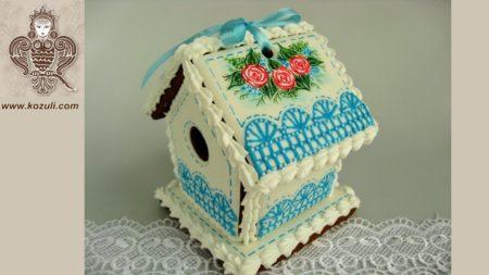 Пряничный мини-домик Весенний, видео МК (с шаблоном)