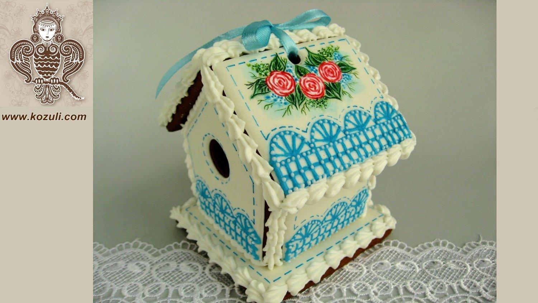 Пряничный мини-домик Весенний, видео МК (с шаблоном), видео мастер-класс