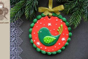 ШАБЛОН для новогоднего пряника Рождественская птичка