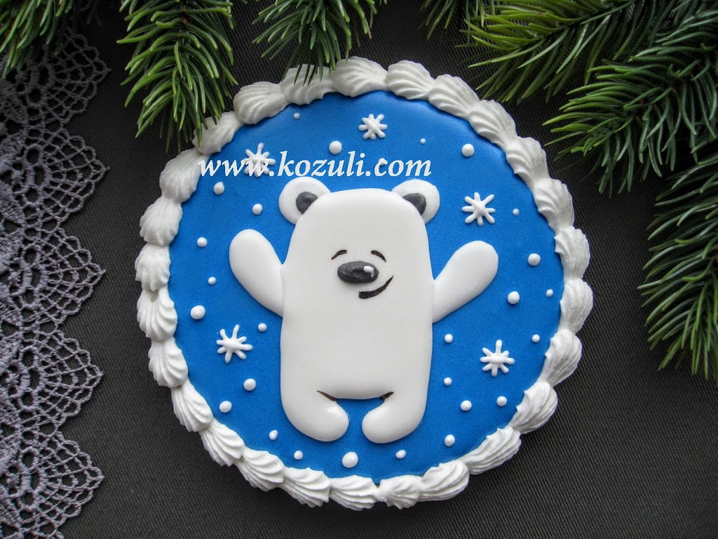 ШАБЛОН для новогоднего пряника Белый мишка