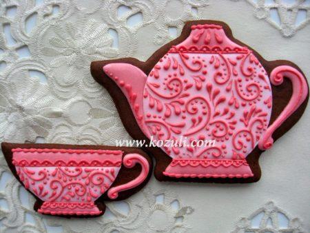 Имбирные пряники Чайник и чашечка