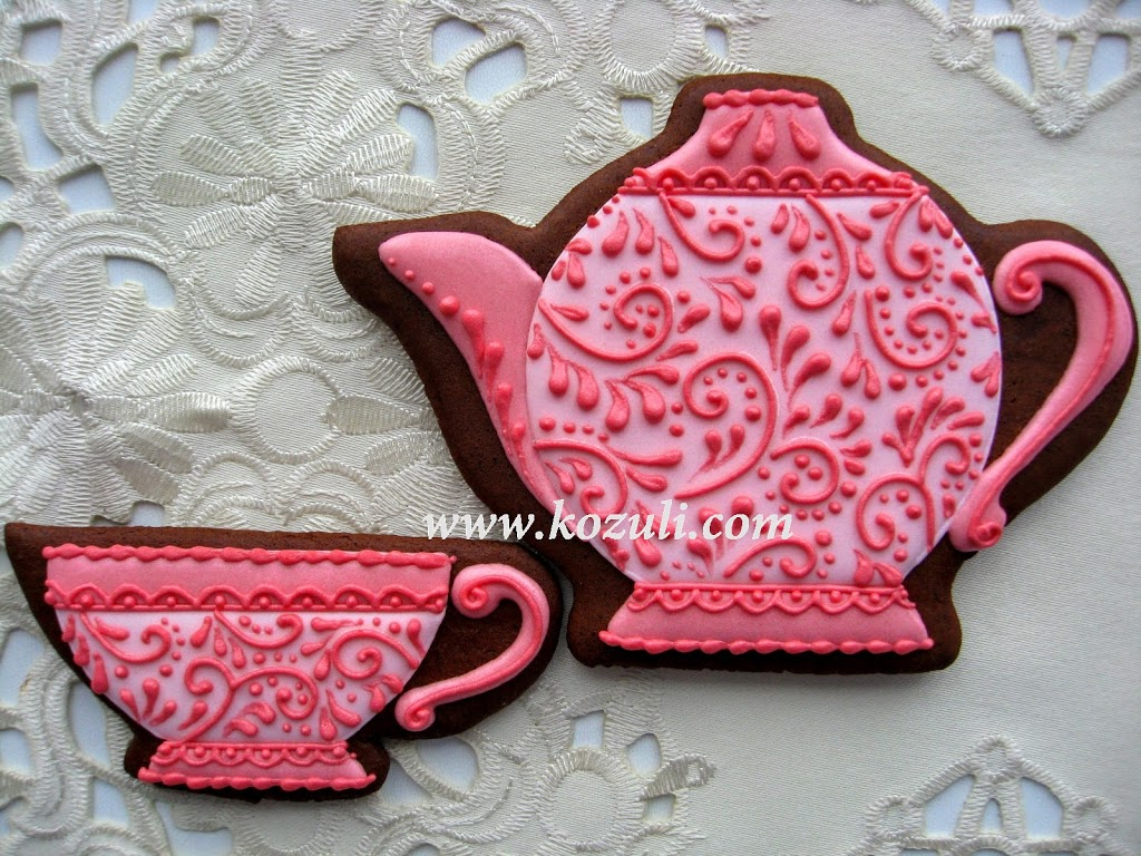 ШАБЛОН для подарочных пряников Чайник и чашечка
