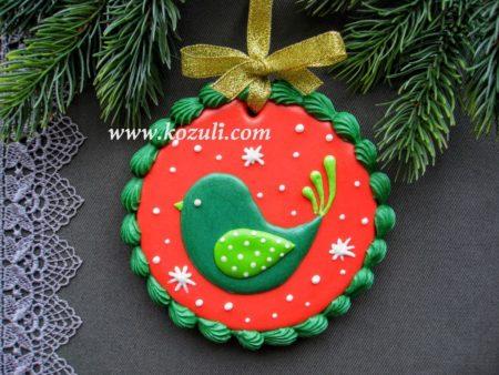 Новогоднее печенье Рождественская птичка. Новогодние имбирные пряники