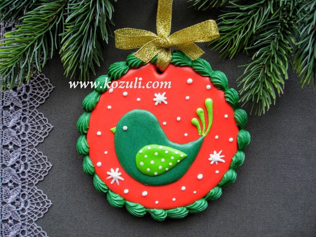 ШАБЛОН для новогоднего подарочного пряника Рождественская птичка