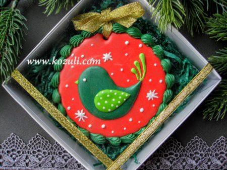 Новогодние пряники, новогоднее печенье Рождественская птичка, упаковка. Новогодние имбирные пряники