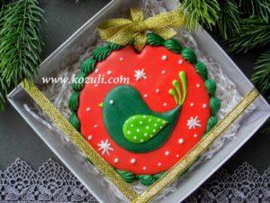 Новогодние пряники, новогоднее печенье Рождественская птичка, упаковка. Новогодние имбирные пряники.