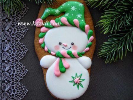 Пряник Снеговик. Новогодние имбирные пряники, новогоднее печенье Снеговик