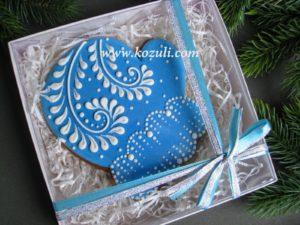 Новогодний пряник Варежка, упаковка. Новогодние имбирные пряники