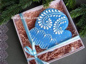 Новогодний пряник, новогоднее печенье Варежка, бежевый наполнитель, упаковка. Новогодние имбирные пряники