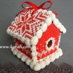 """Пряничные домики. Пряничный домик красный """"Вязаный"""", мастер класс. Новогодние пряники, новогоднее печенье, новогодние имбирные пряники. Пряничный домик своими руками. Как сделать пряничный домик."""