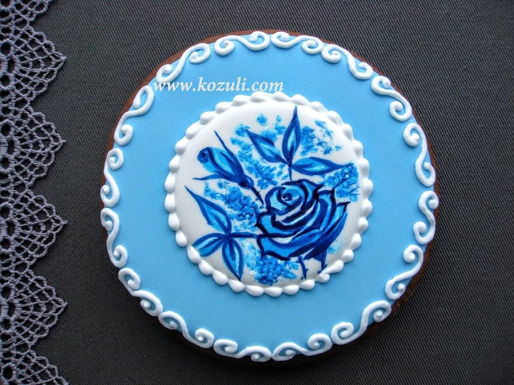 Рисунок на пряниках.Роспись пряника кистью. Пряник Голубая роза.