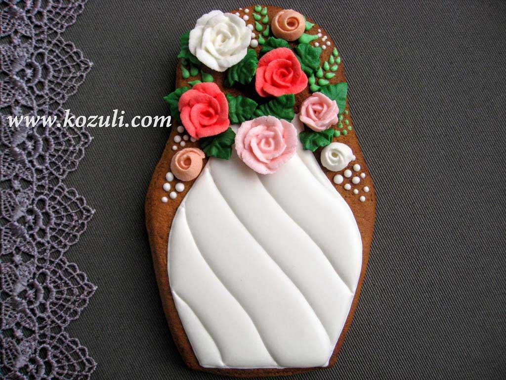 Пряник Ваза с цветами