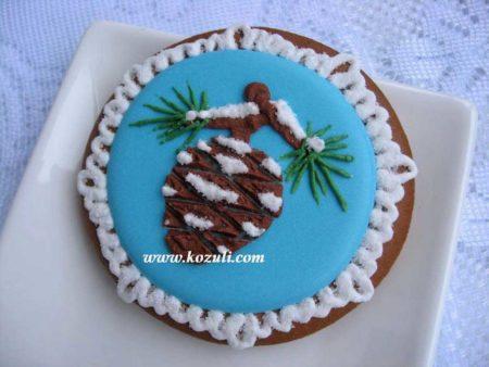Новогодний пряник с сосновой шишкой. Новогодние имбирные пряники, новогоднее печенье