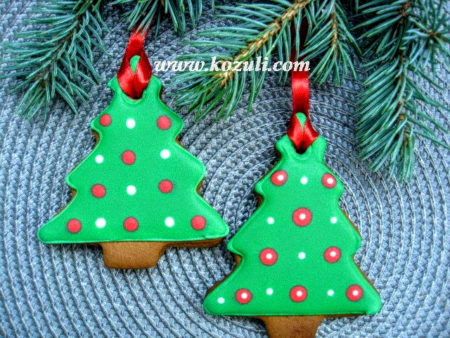 Новогодние пряники, новогоднее печенье Елки с росписью в технике по мокрому