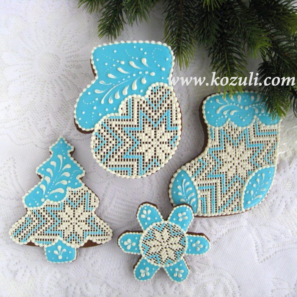 Новогодние пряники Зимняя сказка, пряники с вышивкой, вышивка на пряниках