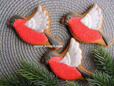 Новогодние пряники, новогоднее печенье Снегири